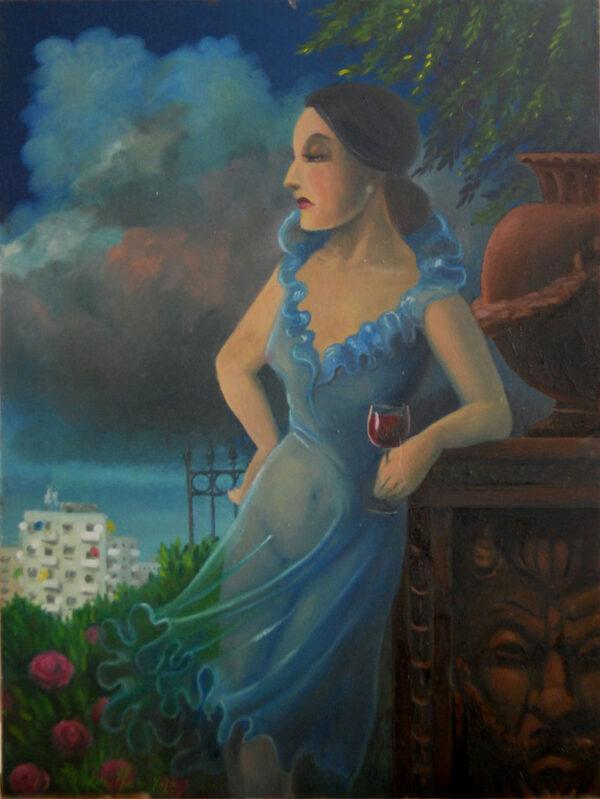 Philippine Eleonore denkt darüber nach, wie ihr Leben wohl verlaufen wäre, hätte Sie anstatt für Chateau Lafite Rothschild eine Leidenschaft für Bier entwickelt – ein Ölgemälde von Thilo Weckmüller