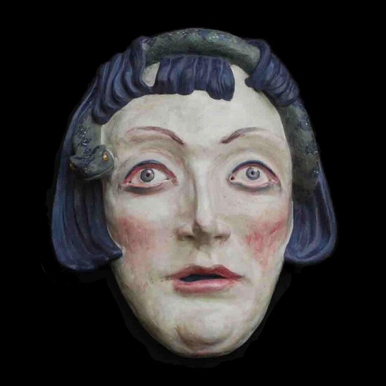 Hexe III – Tonmaske von Thilo Weckmüller farbig gefasst