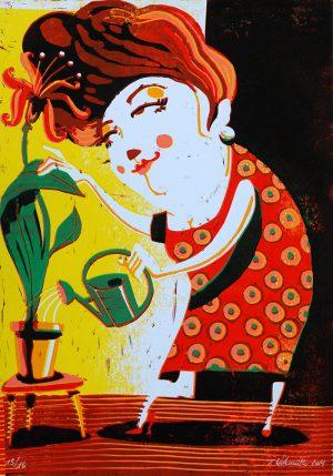 Zuneigung mehrfarbiger Linoldruck von Thilo Weckmüller, gedruckt mit der »Verlorenen Form«