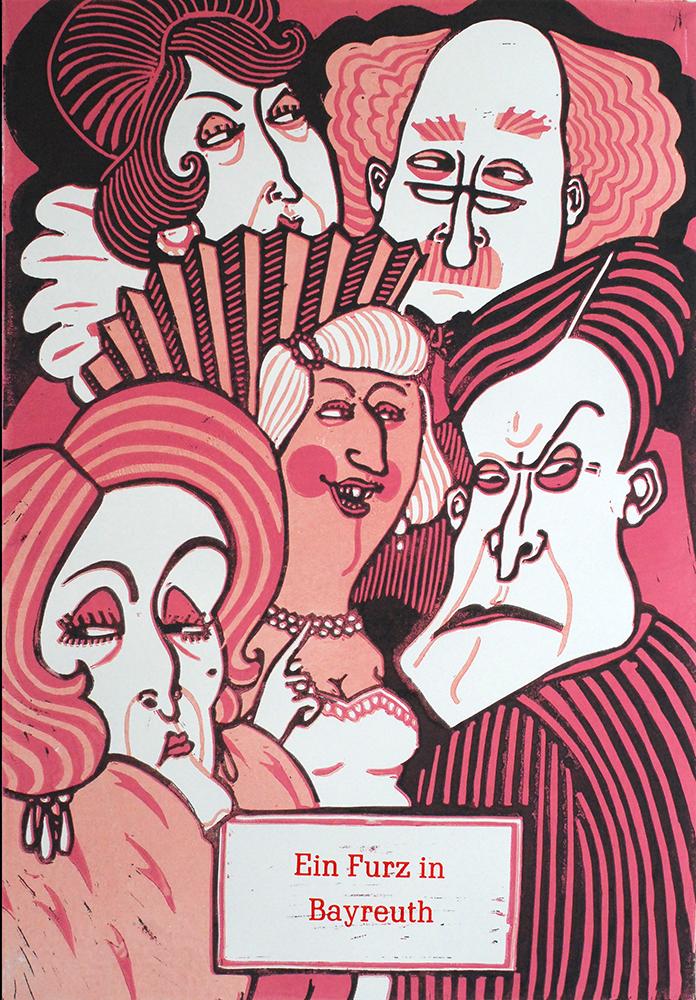 Ein Furz in Bayreuth Linoldruck von Thilo Weckmüller