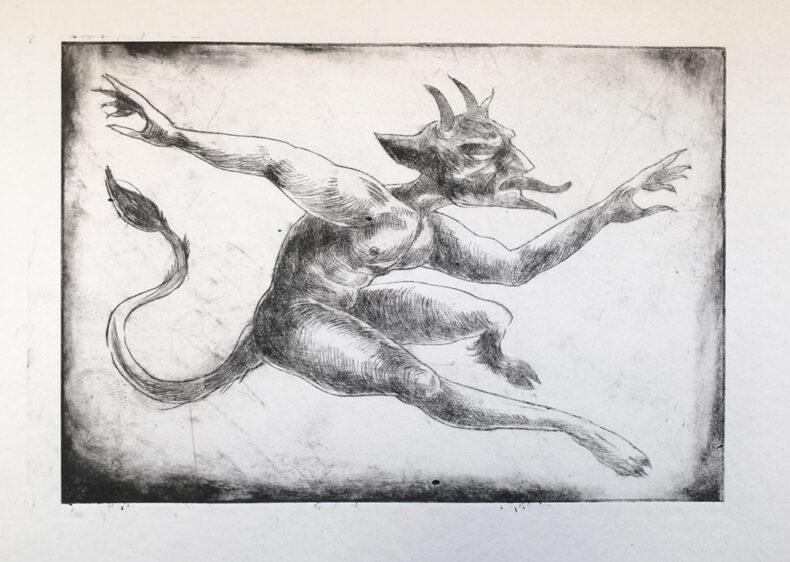 Tanzender Teufel, Kaltnadelradierung von Thilo Weckmüller