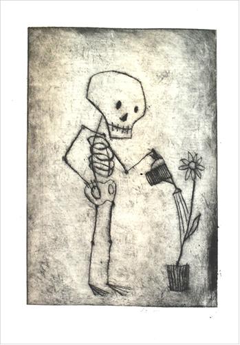 Der Tod und die Topfpflanze Kaltnadelradierung von Thilo Weckmüller