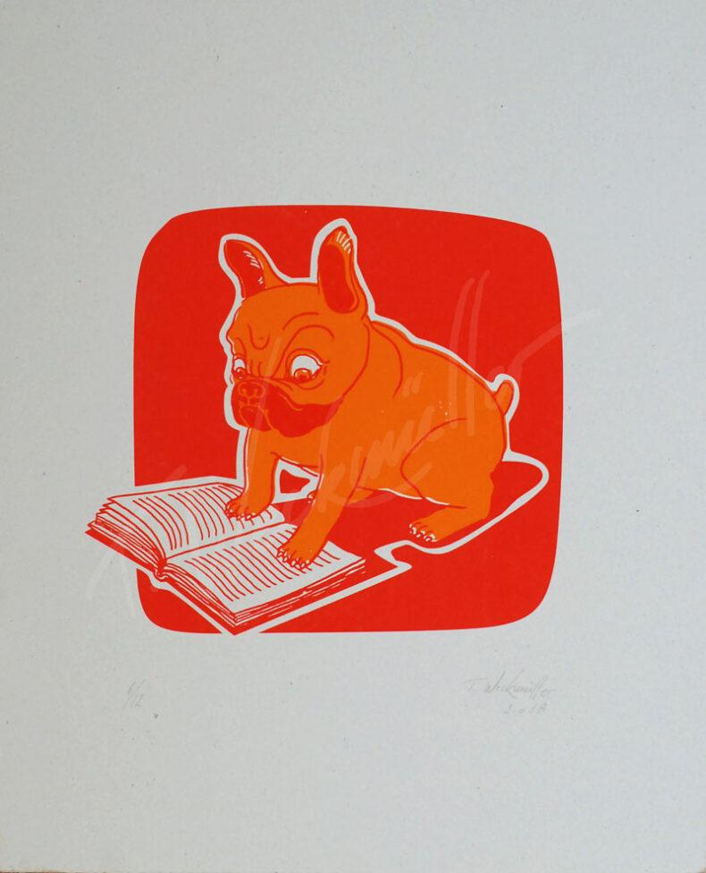 Lesender Hund – »Georg Wilhelm Friedrich Hegel – Phänomenologie des Geistes« von thilo Weckmüller