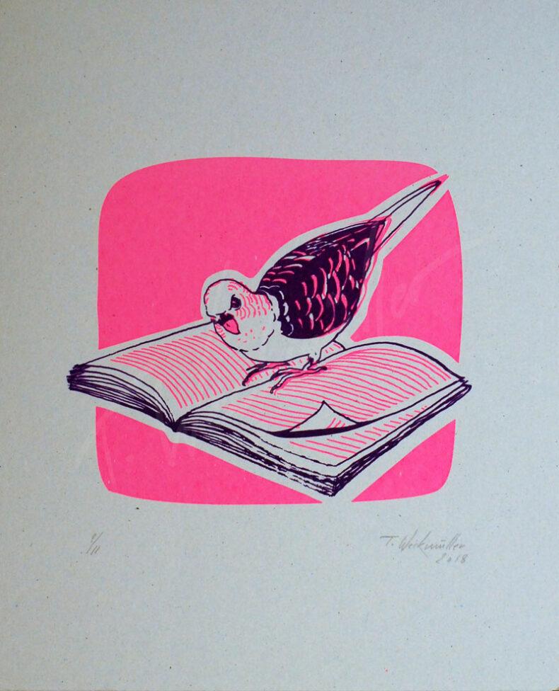 Lesender Vogel – »Charles Baudelaire – Die Blumen des Bösen« Siebdruck von Thilo Weckmüller