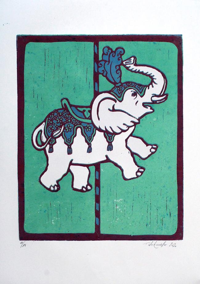 Weißer Elefant ein Linoldruck von Thilo Weckmüller