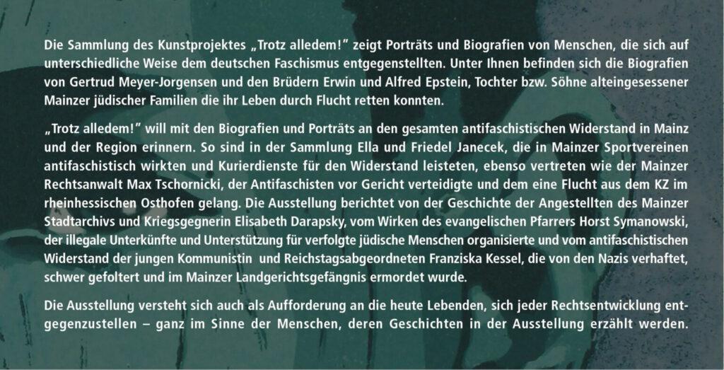 »Die Vitrine« Mainz ab 09.11.–03.12.2020 – Ausstellung »Trotz alledem!« – Portraits des antifaschistischen Widerstandes 1933–1945