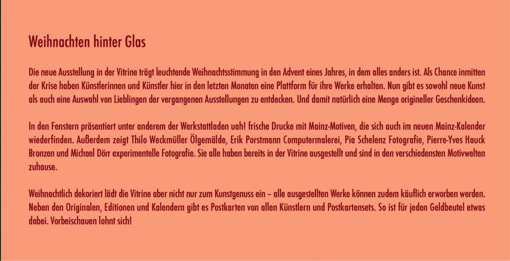 Folder Ankündigung der Ausstellung in Mainz – Weihnachten hinter Glas – Thilo Weckmüller